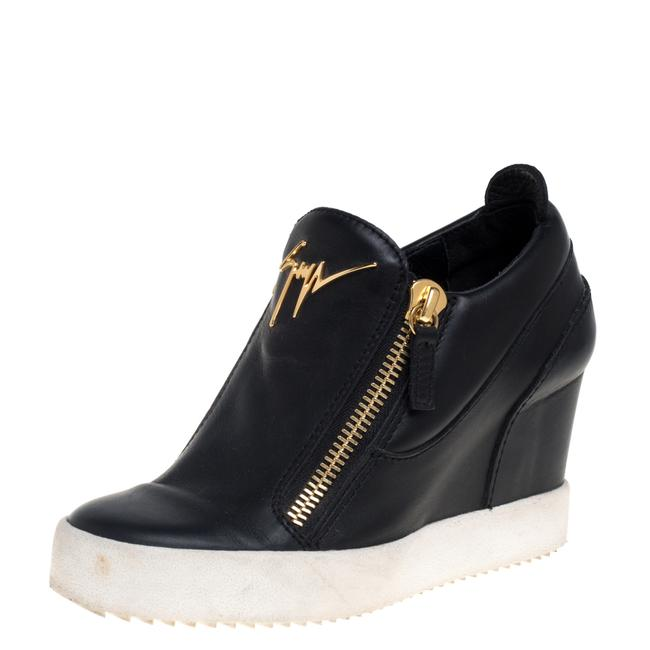 Item - Black Leather Wedge Sneakers Size 36 Athletic