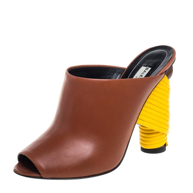 Item - Brown Leather Wrapped Heel Slide Size 37 Sandals