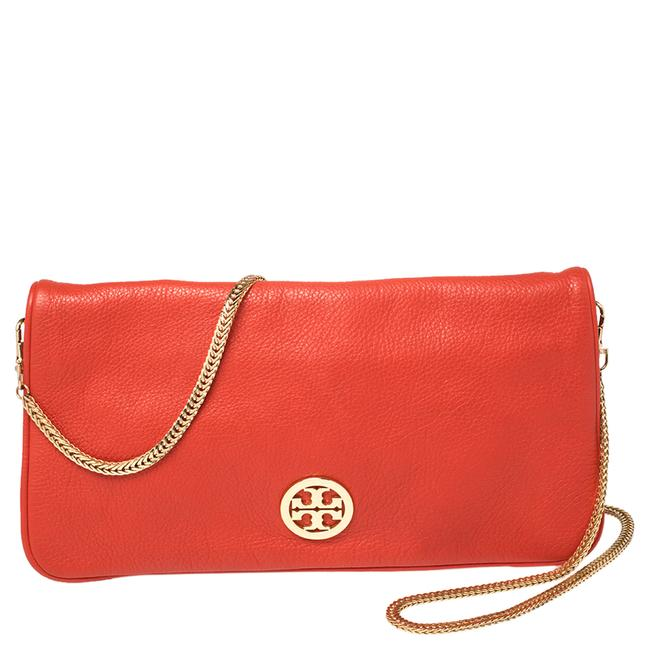 Item - Red Leather Logo Chain Clutch