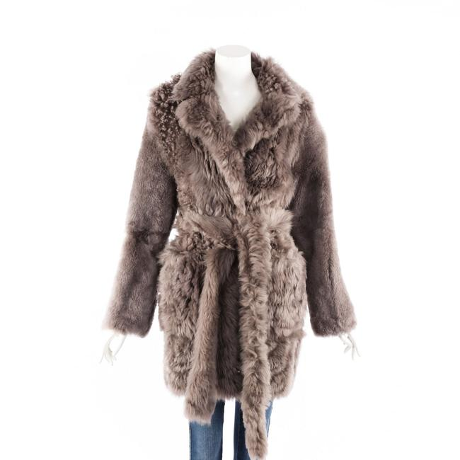 Item - Coat Gray Shearling Belted 36
