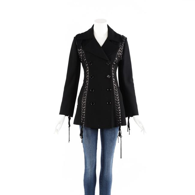 Item - Dolce & Gabbana Black Wool Braided Leather Double Breasted 38 Jacket