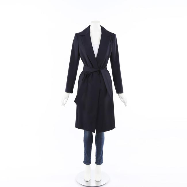 Item - Blue Wool Belted Trench Coat 46