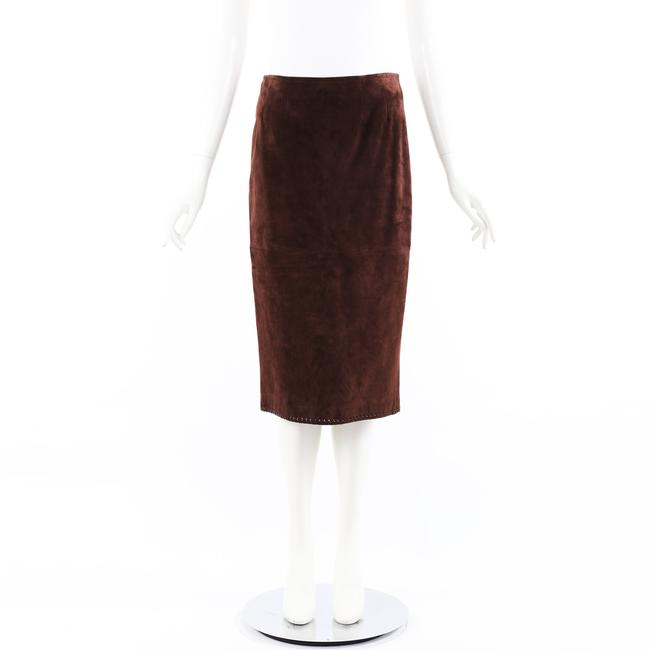 Item - Brown Leather Suede Midi 40 Skirt