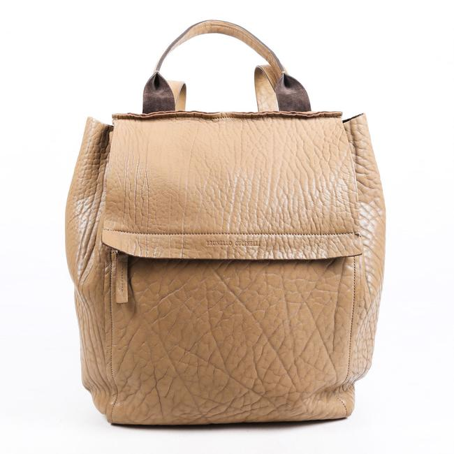 Item - Beige Leather Flap Backpack