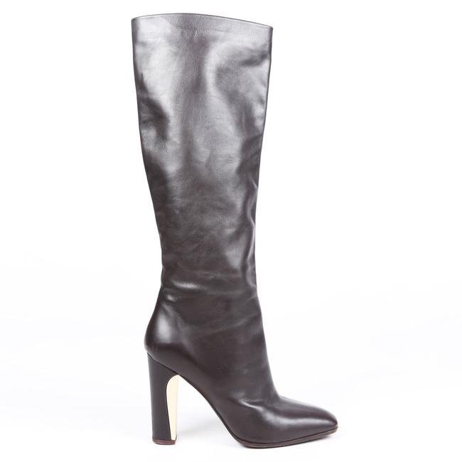 Item - Brown Leather Square Toe Knee High 10 Boots/Booties