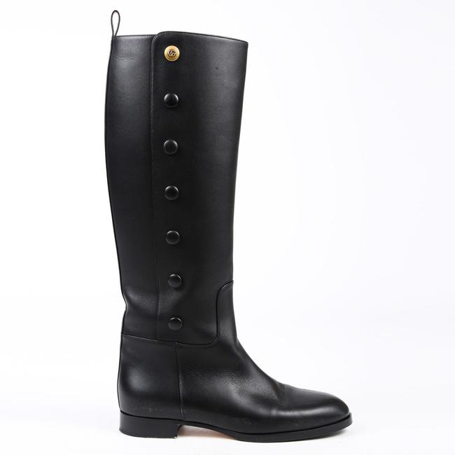 Item - Riding Black Leather Gg Logo Buttoned 37 Boots/Booties