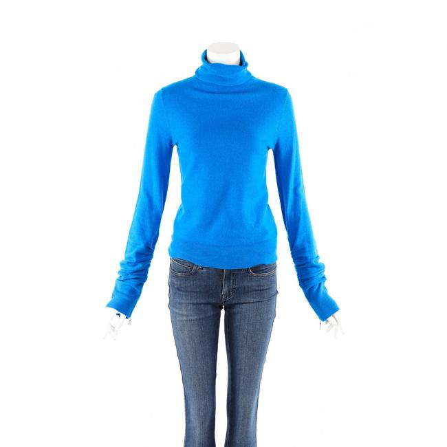 Item - XS Blue Wool Knit Ruched Turtleneck Sweater/Pullover