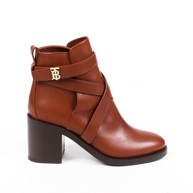 Item - London Monogram Motif Brown Leather Strappy Ankle 38.5 Boots/Booties