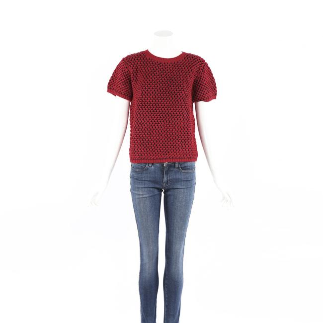 Item - Red Blue Wool Knit Short Sleeve M Sweater/Pullover
