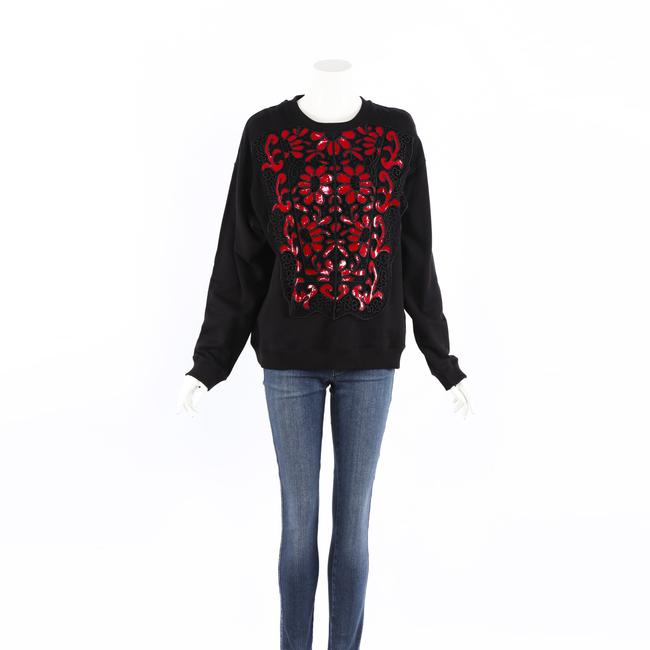 Item - Black Red Floral Lace Embroidery M Sweater/Pullover