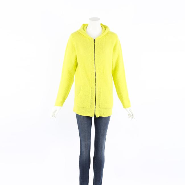 Item - XL Neon Green Wool Cashmere Zipped Hoodie Sweater/Pullover