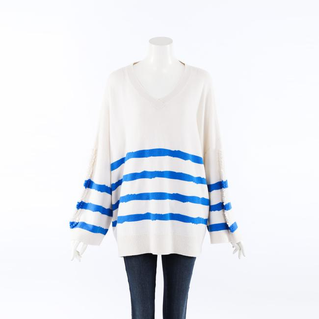 Item - Blue White Striped Cashmere Knit Oversized Sweater/Pullover