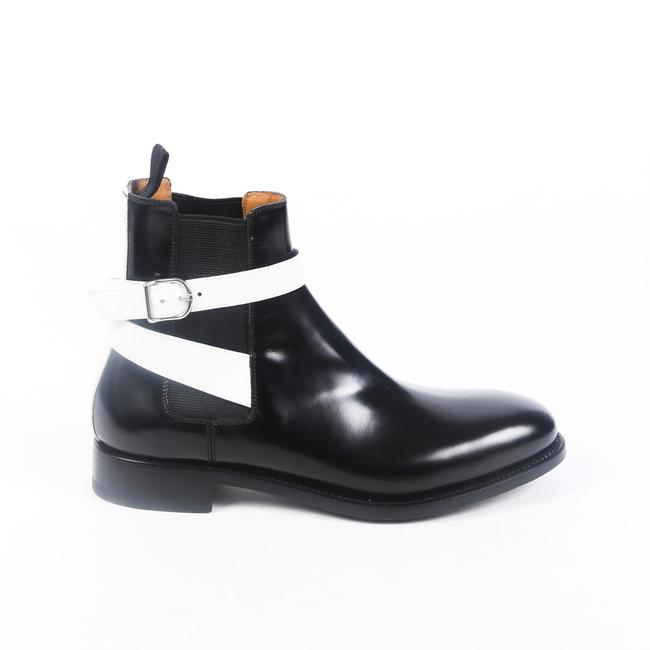 Item - Black White Leather Strappy Chelsea 39.5 Boots/Booties