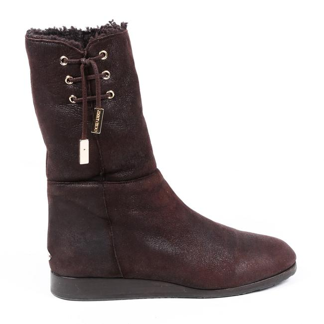 Item - Brown Leather Shearling Lace Up 40 Boots/Booties