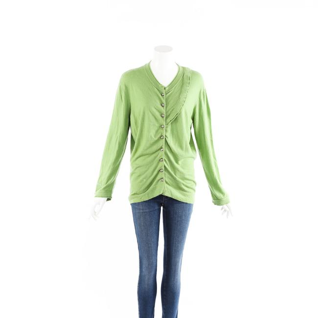 Item - Cardigan Green Cashmere Knit Ruched M Sweater/Pullover