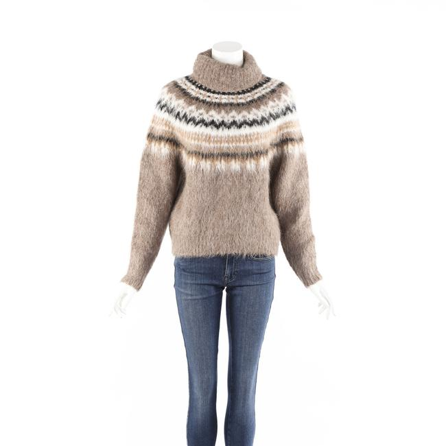 Item - XS Brown Fair Isle Knit Alpaca Wool Turtleneck Sweater/Pullover