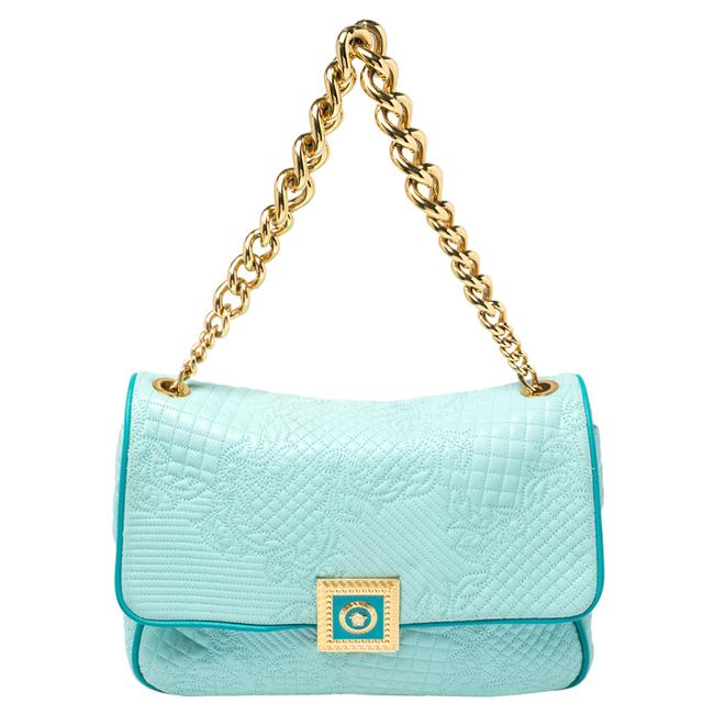 Item - Turquoise Quilted Leather Vanitas Chain Shoulder Bag