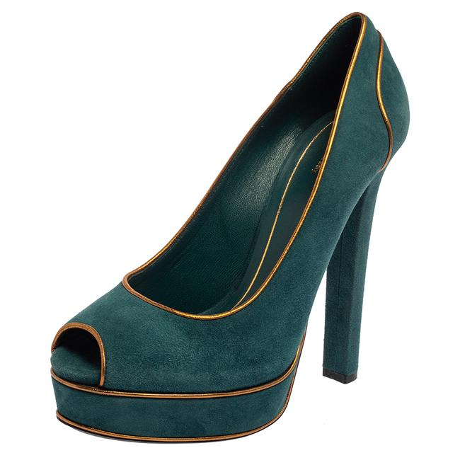 Item - Teal Green Suede and Gold Leather Piping Detail Peep Toe Platform Size 39.5 Pumps