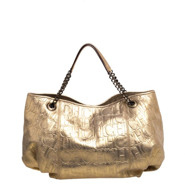 Item - Gold Monogram Embossed Leather Chain Handle Tote