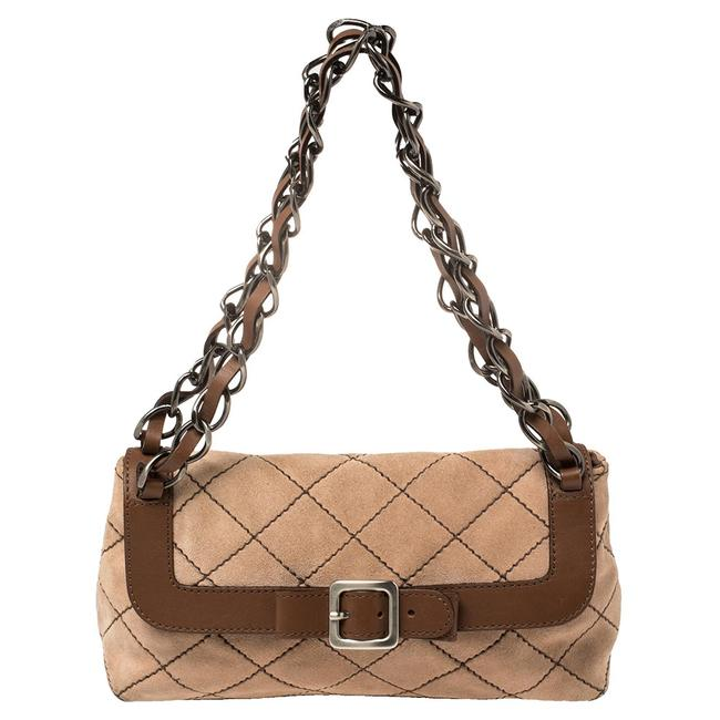 Item - Beige/Brown Suede and Leather Buckle Flap Shoulder Bag