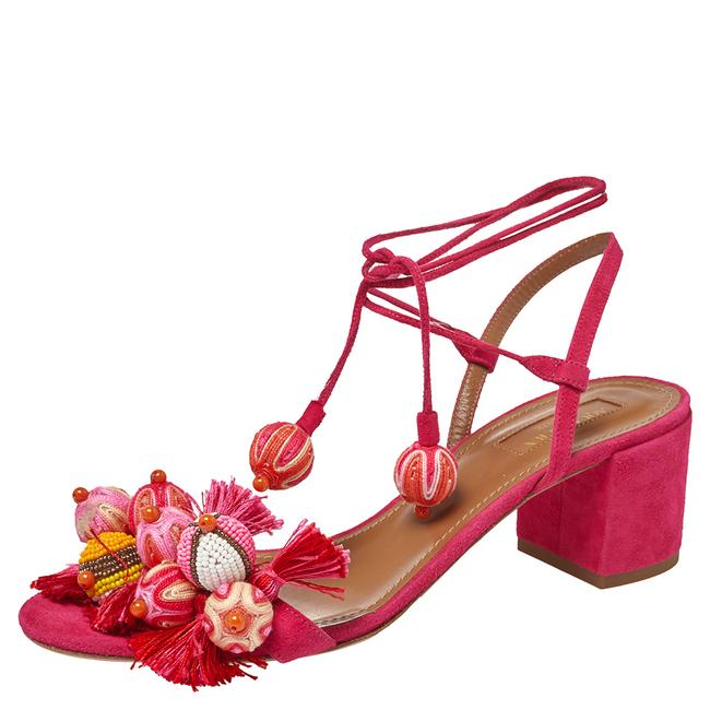 Item - Paradise Pink Suede Tropicana Tasseled Beaded Ankle Tie Size 39 Sandals