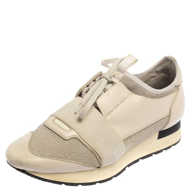 Item - Cream/Grey Leather and Fabric Race Runner Sneaker Size 39 Athletic