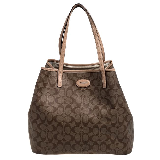 Item - City Beige/Brown Signature Canvas and Leather Zip Top Tote