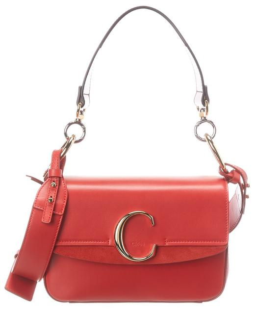 Chloé C Small Leather & Suede Chc19ss191 A37 640 Shoulder Bag Chloé C Small Leather & Suede Chc19ss191 A37 640 Shoulder Bag Image 1