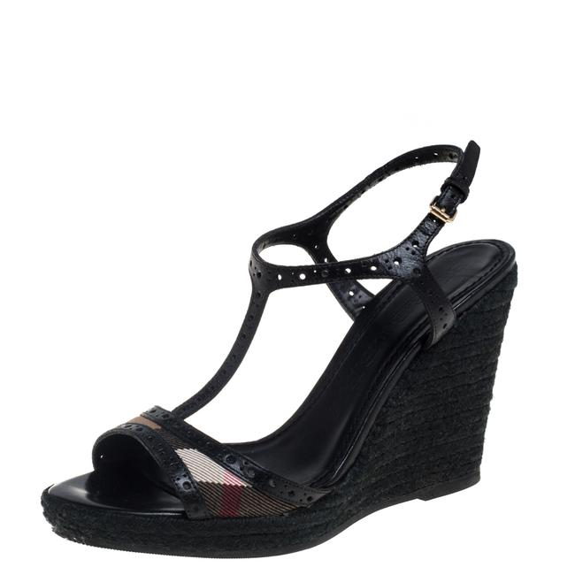 Item - Black Perforated Leather and Novacheck Canvas T Strap Wedge Espadrilles Size 38 Sandals