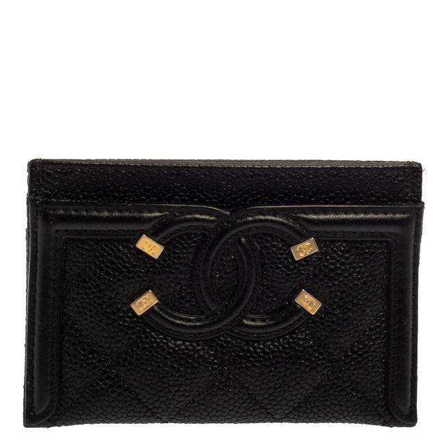 Item - Black Quilted Caviar Leather Cc Filigree Card Holder Wallet