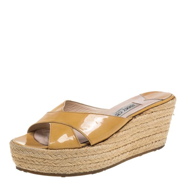 Item - Yellow Patent Leather Wedge Crisscross Size 37.5 Sandals