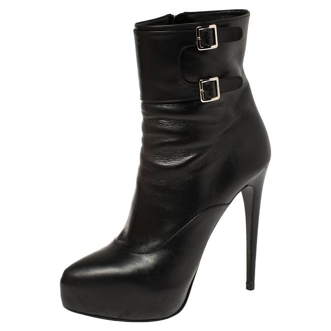 Item - Black Leather Zipper Detail Ankle Size 39.5 Boots/Booties