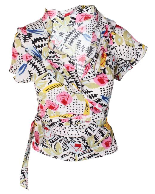 Item - Top Fretted Black Pink Yellow Green Blouse
