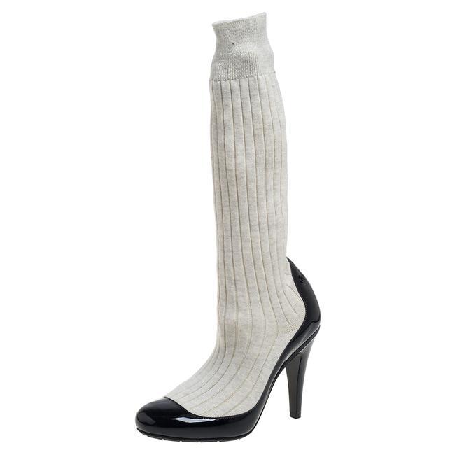 Item - Black/Off White Patent Leather and Sock Knee Size 36 Boots/Booties