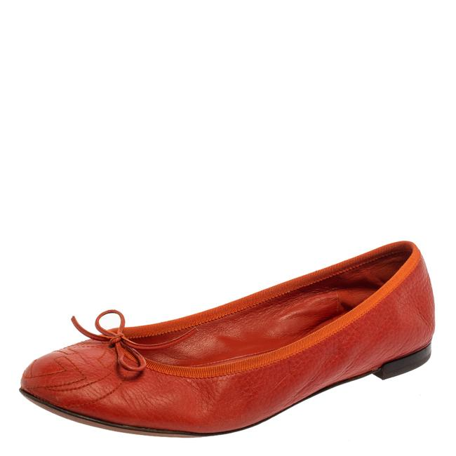Item - Orange Leather Gg Interlocking Bow Ballet Size 39.5 Flats