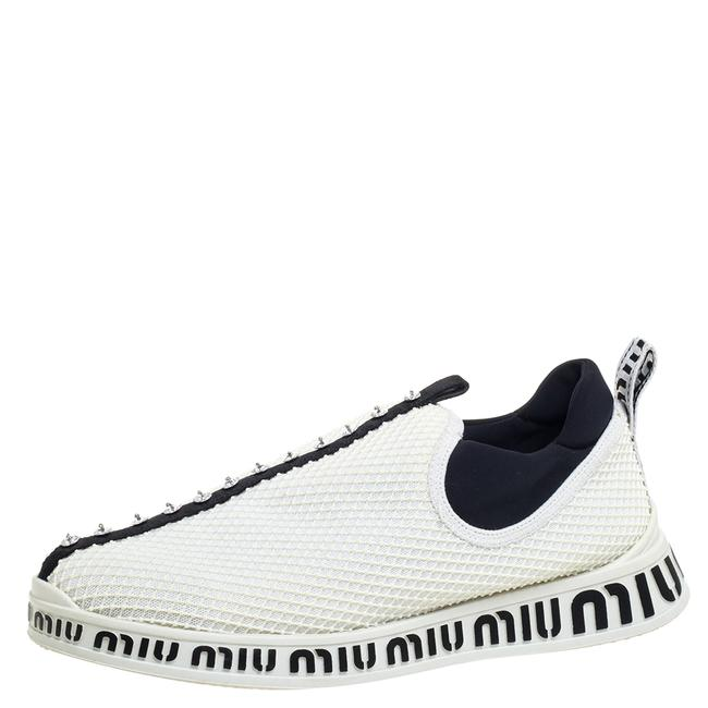 Item - White Mesh Crystal Embellished Slip On Sneakers Size 39.5 Athletic