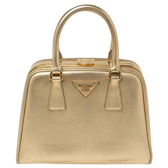 Item - Pyramid Lux Gold Saffiano Leather Frame Satchel