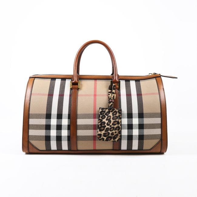 Item - Duffle Prorsum Brown Checked Canvas Leather Weekend/Travel Bag