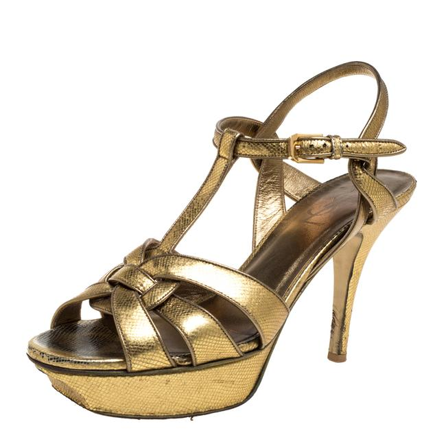 Item - Tribute Gold Leather Size 38 Sandals