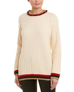 Gucci XS Womens Cable-knit Wool Cashmere-blend White 528958 X9w62 9019 Sweater/Pullover