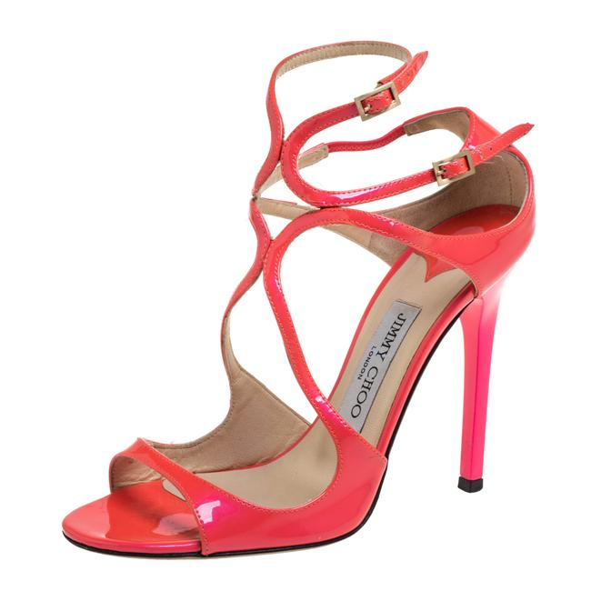 Jimmy Choo Pink Patent Leather Lance Strappy Size 37 Sandals Jimmy Choo Pink Patent Leather Lance Strappy Size 37 Sandals Image 1