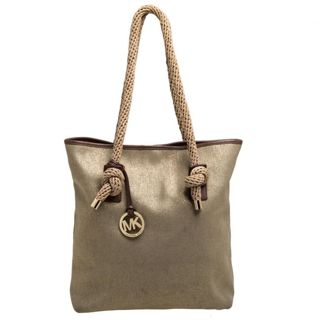 Item - Gold/Beige Shimmer Canvas Knotted Handle Tote