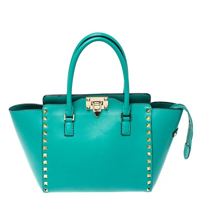 Item - Green Leather Small Rockstud Trapeze Tote