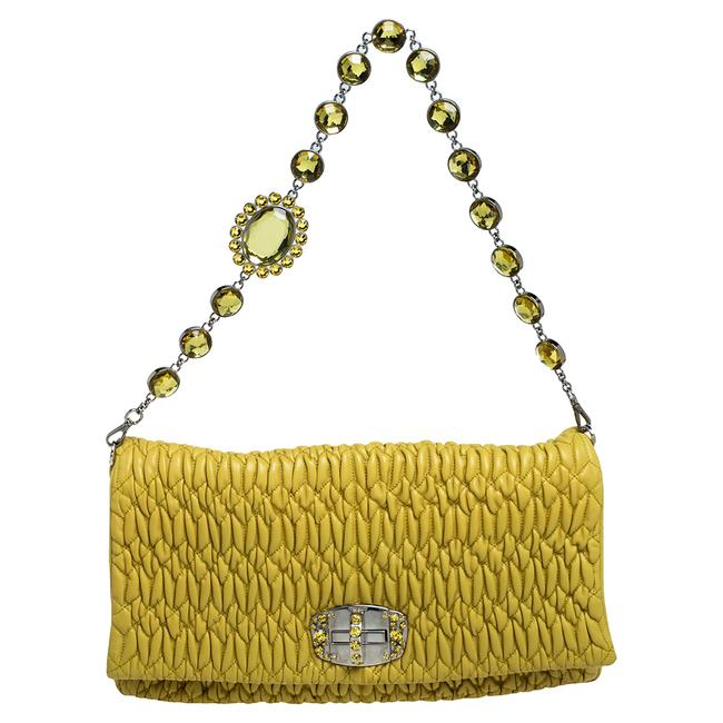 Item - Yellow Matelasse Nappa Leather Crystal Shoulder Bag
