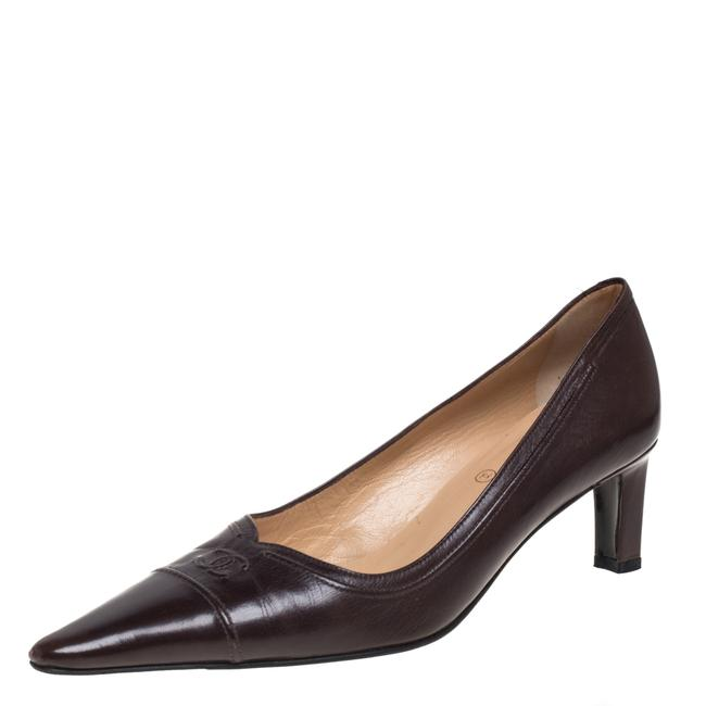 Item - Brown Leather Cc Pointed Size 39 Pumps