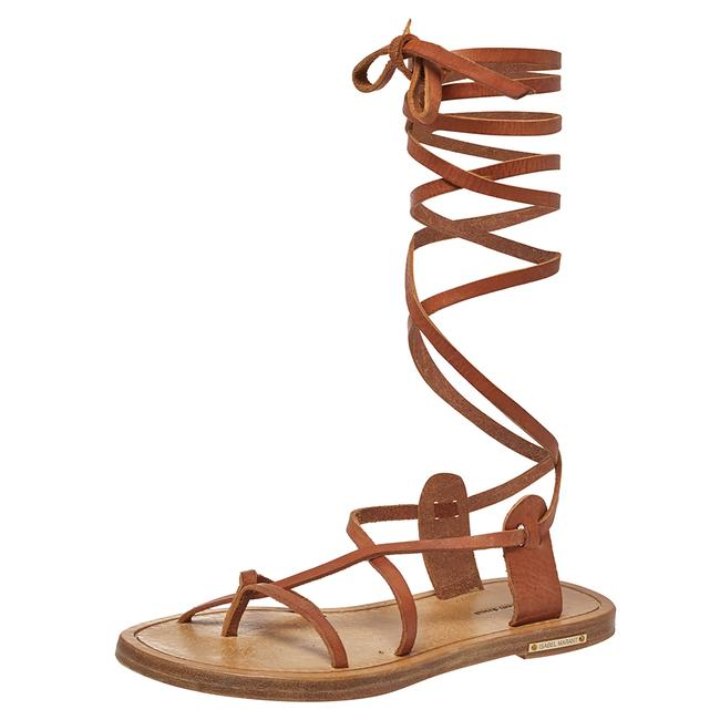 Item - Tan Leather Amy Lace-up Flat Size 35 Sandals