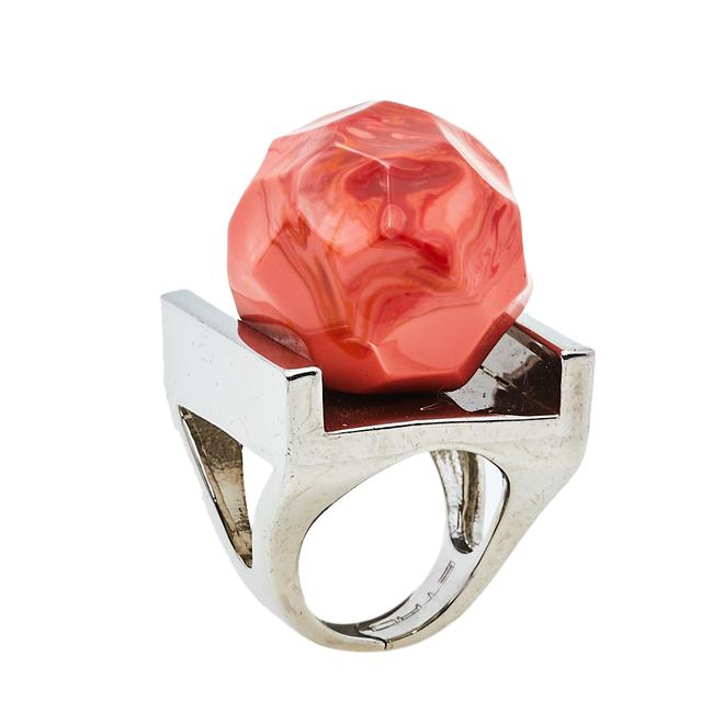 Item - Orange Faceted Bead Statement Ring Size Eu 51 Jewelry