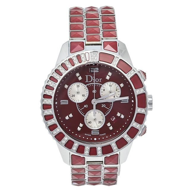 Item - Red Crystals & Stainless Steel Diamond Christal Cd11431g-v Women's Wristwatch 38 Mm Watch