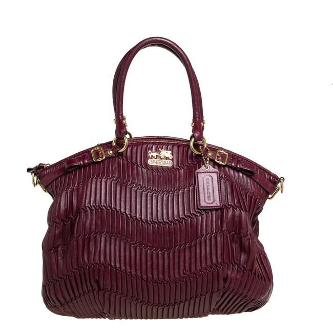 Item - Sophia Burgundy Pleated Leather Madison Satchel