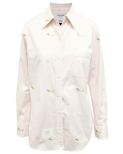 Item - Pink Shirt with Embroidery Button-down Top